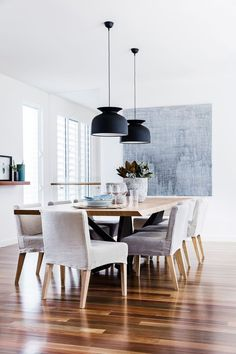 Dining room from a stylish new home on the Hunter Coast of NSW with an idyllic indoor-outdoor lifestyle. Photo: Maree Homer | Styling: Rebecca Fuge | Story: Australian House & Garden