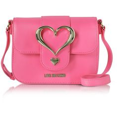 Love Moschino Handbags Eco Leather Crossbody Bag w/Heart Buckle (9.845 RUB) ❤ liked on Polyvore featuring bags, handbags, shoulder bags, purse shoulder bag, hand bags, man bag, pink shoulder bag and purse crossbody