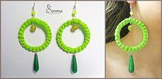 Orecchini fatti a mano, realizzati in tessuto colorato verde acido e pietre dure - Serena Creazioni, bijoux artigianali.