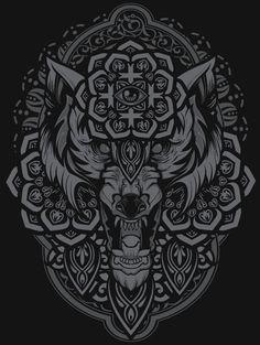 Night Wolf Art Print by Fenrir Tattoo, Norse Tattoo, Celtic Tattoos, Viking Tattoos, Viking Art, Viking Symbols, Tattoo Henna, Geniale Tattoos, Celtic Art