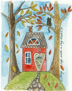 A Tiny Life No.1 - lil' art card, giclee print of watercolour, house, Susan Black