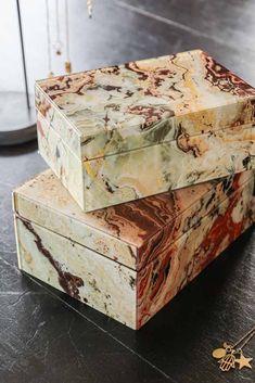 #marble #marbleinteriors #bedroomstyle #storagebox #jewellerybox #trinketbox #pinkmarble #redmarble #dressingtable #rockettstgeorge Marble Jewelry, Decorative Storage Boxes, Print Box, Nesting Boxes, Marble Effect, Marble Print, Jewellery Boxes, Tall Vases, Black Ribbon