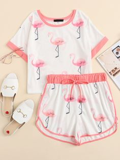 Flamingo Print Ringer Tee & Sweat Shorts Set -SheIn(Sheinside) - Flamingo Print Ringer Tee & Sweat Shorts Set -SheIn(Sheinside) Source by - Cute Lazy Outfits, Kids Outfits Girls, Teenager Outfits, Pretty Outfits, Cute Pajama Sets, Cute Pjs, Cute Pajamas, Girls Fashion Clothes, Teen Fashion Outfits