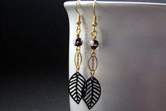 Dangle Earrings Leaf Earrings in Black and Gold  by Gilliauna, $32.00