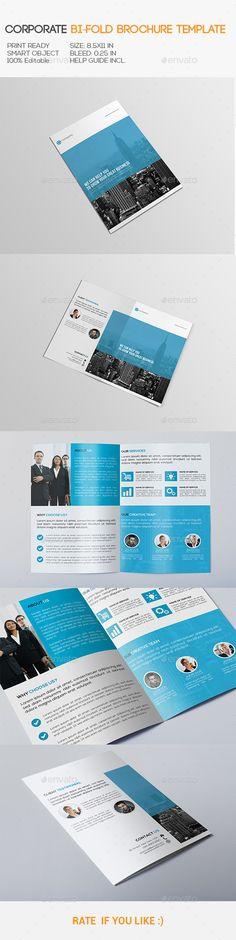 Corporate BiFold Brochure — Photoshop PSD #corporate bi-fold brochure #creative brochure • Available here → https://graphicriver.net/item/corporate-bifold-brochure/10814794?ref=pxcr