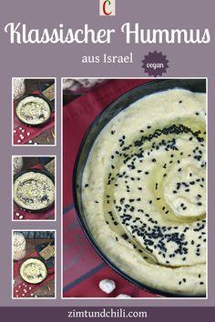 KLASSISCHES HUMMUS AUS ISRAEL - VEGANHummus ist ein orientalischer Dip aus Kichererbsen, Gewürzen, Tahina, Wasser, Olivenöl und Zitronensaft. Man kann das Hummus schnell und einfach selber machen. Mit diesem Rezept wird das Hummus besonders cremig. Es ist vegan und glutenfrei. #Hummusklassisch #HummusRezept #HummusausIsrael #klassischesHummusausIsrael #orientalischerDip #HummusmitTahina #Hummusvegan #Hummusschnellundeinfach Camembert Cheese, Chili, Pancakes, Dairy, Breakfast, Israel, Recipes, Pie, Savoury Finger Food