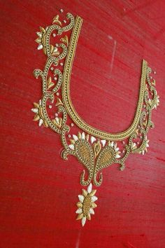 hand embroidery designs for neck Aari Embroidery, Hand Work Embroidery, Indian Embroidery, Hand Embroidery Designs, Embroidery Blouses, Maggam Work Designs, Bridal Blouse Designs, Choli Designs, Blouse Patterns