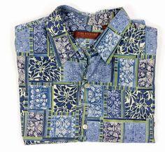Tori Richard Hawaiian Shirt 2XB Cotton Lawn Tropical Hawaii Blue print #ToriRhichard #Hawaiian