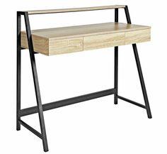 Buy Argos Home Desk with Shelf - Oak Effect Desk Shelves, Desk Storage, Shelf, Home Desk, Home Office Desks, New Home Wishes, Pedestal Desk, Ideas Hogar, Black Desk