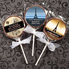 Our Paris Milk Chocolate Lollipop Favors allows you to choose an amazing design that will match your Parisian party perfectly!