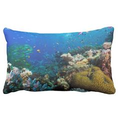 This throw pillow features the colorful coral, abundant schools of tropical fish and crystal blue water found on Australia's Great Barrier Reef in the Coral Sea.