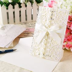 10 Lace Laser Cut Out Wedding Invitations & Evening Invites w Envelopes Handmade