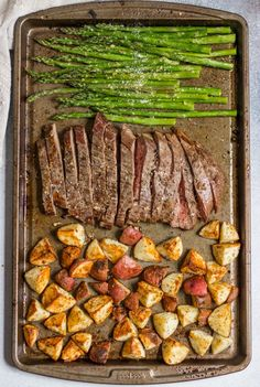Dinner on one pan with this Parmesan Crusted Steak and Potato Sheet Pan Dinner means simple and delicious dinner without the extra dishes! Juicy flank steak and crispy potatoes served with asparagus. A full meal on one pan!