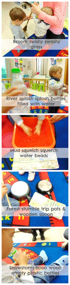 Sound activity for babies & toddlers for the book We're going on a bear hunt Bear Theme Preschool, Preschool Boards, Preschool At Home, Nursery Activities, Infant Activities, Preschool Activities, Activities For Kids, Welcome To Kindergarten, Lesson Plans For Toddlers