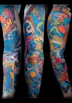 DC comics panel tattoo sleeve