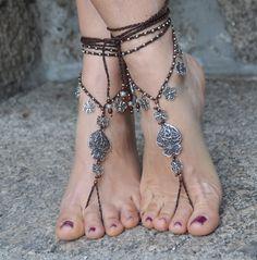 "Valentine's day ""Heart of viana"" BAREFOOT SANDALS dark BROWN foot jewelry hippie sandals crochet barefoot yoga sandals portuguese jewelry by PanoParaTanto on Etsy https://www.etsy.com/listing/217553058/valentines-day-heart-of-viana-barefoot"