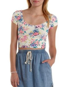 Ivory Combo Strappy Deep Scoop Floral Crop Top by Charlotte Russe