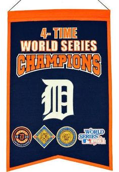 Detroit Tigers Embroidered Wool 4-Time World Series Champions Traditions Banner