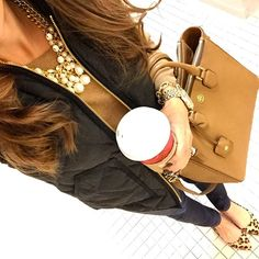 IG @mrscasual <click through to shop this look> black excursion vest. camel tippi sweater. toothpick jeans. leopard flats. pearl necklace. tory burch robinson square tote
