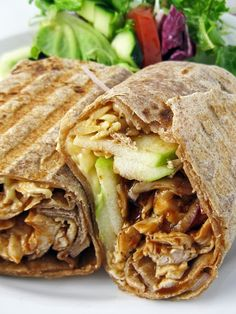 grilled bbq chicken, apple and smoked gouda wrap.