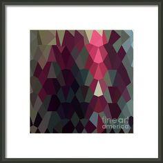 Burgundy Abstract Low Polygon Background Framed Print By Aloysius Patrimonio