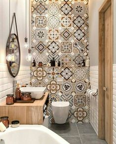Decor master Small Master Bathroom Decor on a Budget Bathroom Grey Bathroom Tiles, Downstairs Bathroom, Master Bathroom, Modern Bathroom, Bathroom Small, Bathroom Cabinets, Warm Bathroom, Gray Tiles, Restroom Cabinets