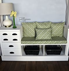 Make a storage bench using a cheap dresser. A few extra touches like cup pulls, upholstery and pillows makes a huge difference. Step by step tutorial.