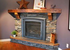 Perfect little fireplace, would like similar stonework & mantel... just a bit more narrow