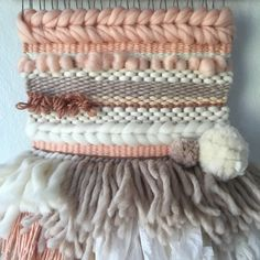 Woven Wall Hanging by Cam Kennedy // Peach by witchwoolandneedle Silk Wool, Woven Wall Hanging, Tapestry Weaving, Merino Wool Blanket, Diy Fashion, Fiber Art, Nursery Decor, Macrame, Quilting