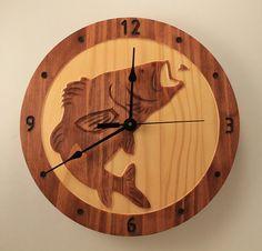 Etsy listing at https://www.etsy.com/listing/237121874/bass-fish-clock-wood-clock-wall-clock