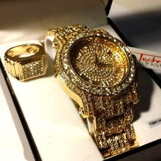 ICED OUT GOLD TONE SIMULATED DIAMOND WATCH & RING SET