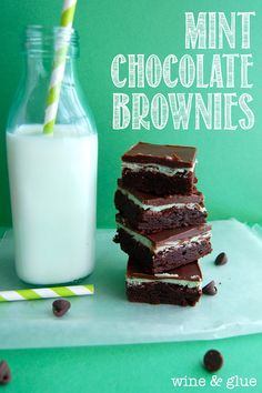 The best Mint Chocolate Brownies!  So easy to make and delicious!  from Wine & Glue #mint #chocolate #brownies