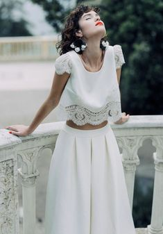 The Laure de Sagazan 2020 Collection has just landed & stunning, combining modern lace & embroidery on beautiful gowns and playful but equally sassy bridal separates. 2 Piece Wedding Dress, Wedding Dress Sleeves, Boho Wedding Dress, Bridal Dresses, Wedding Gowns, Bridal Looks, Bridal Style, Bridal Separates, Wedding Dress Separates