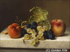 """pintoras: """" Emilie Preyer (German, 1849 - Fruit still life with two peaches and blue and green grapes on the branch and a vine leaf on a marble table top Wikimedia Commons) """" Fruit Painting, Oil Painting On Canvas, Canvas Art Prints, Painting Art, Old Paintings, Classic Paintings, Still Life Artists, Still Life Images, Still Life Fruit"""
