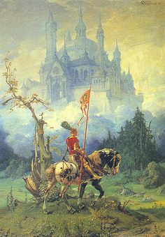 """Avalon Camelot King Arthur:  """"Parsifal,"""" by Martin Wiegand (~1930)."""