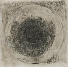 Jasper Johns (American, b. 1930). Target, 1958. Conte crayon on paper. 15 1/2 x 15 in. sheet. Collection of Mr. and Mrs. Andrew Saul / © Jasper Johns/Licensed by VAGA, New York, NY