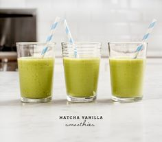 Matcha Vanilla Smoothies via Love   and Lemons #recipe