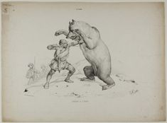 Top Hunting Bear Hunting, Classic Image, Historical Maps, Line Drawing, Art Prints, Drawings, Poster, Animals, Vintage