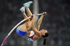 Yelena Isinbaeva, Russian pole vaulter. Allyson Felix, Sports Track, Pole Vault, Long Jump, Dynamic Poses, Rio Olympics 2016, Good Heart, Action Poses, Sports Photos