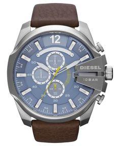 Diesel Watch, Men's Chronograph Brown Leather Strap 51mm DZ4281