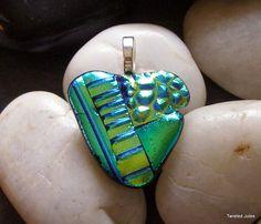 Green heart dichroic glass pendant, handmade