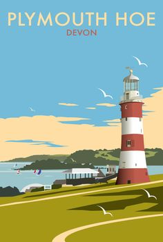 Plymouth Hoe, Devon, the Seven Sisters, UK by Dave Thompson Posters Uk, Railway Posters, Art Deco Posters, Plymouth Hoe, Plymouth England, British Travel, British Seaside, Portsmouth, Tourism Poster