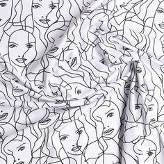 wit katoen stretch jersey met zwart grafisch dessin milliblus
