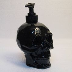 Human Skull Pump Dispenser in Shiny Black Ceramic Lotion Soap Bottle from TexasCeramics on Etsy. Saved to Halloween Decor. Skull Decor, Skull Art, Home Interior, Interior Design, Horror Decor, Goth Home Decor, Deco Originale, Black Skulls, Black Goth