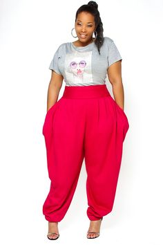 Plus Size Pink Harem Pants #UNIQUE_WOMENS_FASHION