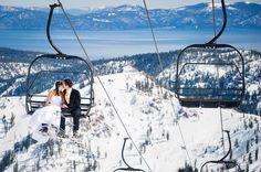Squaw Valley, Lake Tahoe winter ski wedding trash the dress session