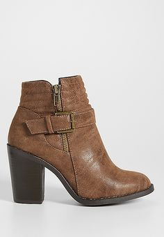 Gerdie heeled bootie with quilting and buckle | maurices