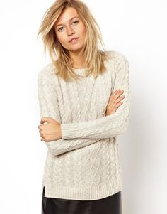Image 1 of Mango Cable Knit Marl Preppy Sweater