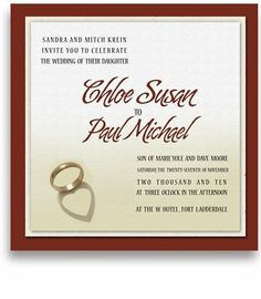 45 Square Wedding Invitations - Cherish Ring Heart by WeddingPaperMasters.com. $202.50. Now you can have it all! We have created, at incredible prices & outstanding quality, more than 300 gorgeous collections consisting of over 6000 beautiful pieces that are perfectly coordinated together to capture your vision without compromise. No more mixing and matching or having to compromise your look. We can provide you with one piece or an entire collection in a one stop shopping e...