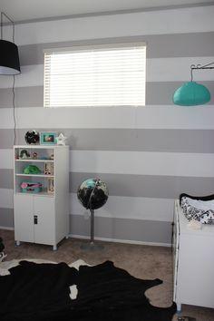 Darby's Nursery Grey and White Stripes